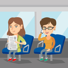 Caucasian women traveling by public transport. Woman using a mobile phone while traveling by public transport. Woman reading newspaper in public transport. Vector cartoon illustration. Square layout.