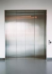 Shiny new elevator doors
