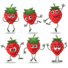 Strawberry characters. Cute fruit funny berry cartoon mascot on white background, vector icons