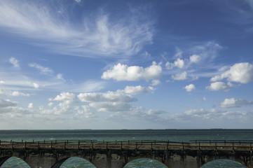 An old bridge running along the ocean in the Florida Keys.