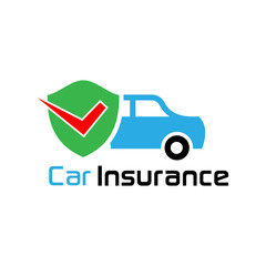 Car insurance with shield and tick.