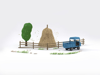 3d rendering cartoon style farm truck countryside low poly tree straw white scene-white background nature transport concept