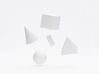 3d rendering white geometric shape-form group floating white background pyramid sphere cube cylinder cone abstract graphic background