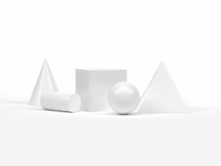 3d rendering white geometric shape-form group set on white background pyramid sphere cube cylinder cone abstract graphic background
