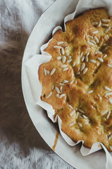 Pears and pine nuts white cake