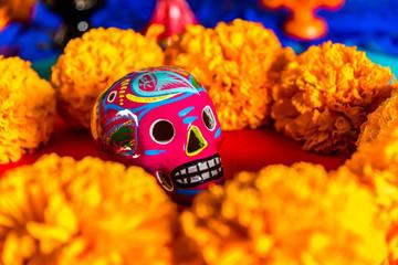 Day of the dead celebration - Skulls, Mexican marigold, bread