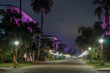 Alley at night in Balboa Park of San Diego, California