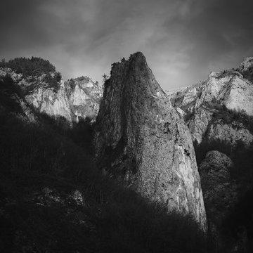 Mountain with steep climbing cliffs