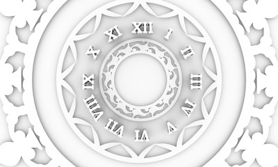 Numeric part of antique clock. Patterns with geometric ornament. Circular ornamental symbol. Arabic and Indian motifs. 3D rendering