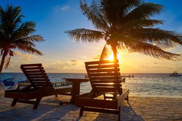 Wall Mural - Riviera Maya sunrise beach hammocks