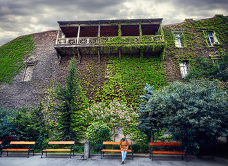 Tourist in old Tbilisi