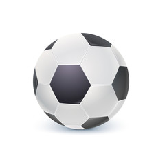Detailed icon of ball for game in classic football. Realistic soccer ball isolated on white background, 3D illustration.