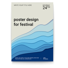 Poster design with a pattern of cut paper. The symbol of the surf, wind or smoke, abstract pattern, A4 size. Vector template of poster, design layout for brochure, banner, flyer