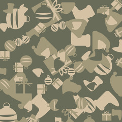 Green and beige Christmas camouflage with images of gifts, Christmas socks and Christmas balls. Can be used as background and backdrop for illustrations or computer wallpaper