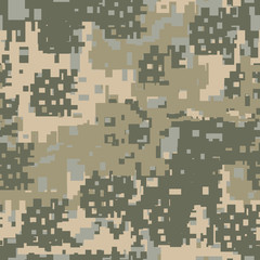 Green , beige and khaki digital camouflage is a colorful seamless pixel pattern that can be used as a camo print for clothing and background and backdrop or computer wallpaper