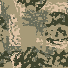 Green, beige and khaki digital camouflage is a colorful seamless pattern that can be used as a camo print for clothing and background and backdrop or computer wallpaper
