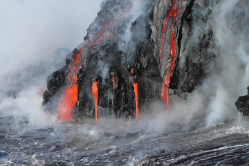 Lava flows from the Kilauea volcano