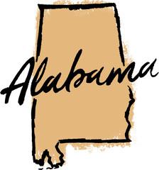 Hand Drawn Alabama State Design