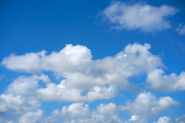 Blue summer sky white cumulus clouds