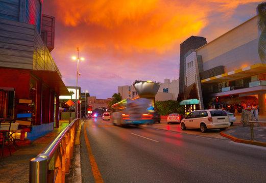 Cancun sunset at Blvd Kukulcan Mexico