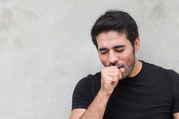 sick man coughing, sore throat