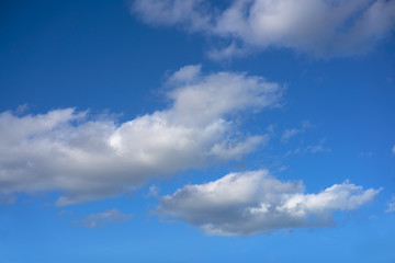 Blue sky summer white cumulus clouds