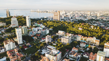 Aerial landscape view of Pattaya city in Thaland
