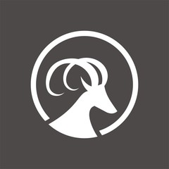 Goat or ibex logo design template vector