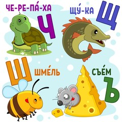 Cartoon Russian alphabet for children with letters and pictures of a turtle, a pike, a bee, a bumblebee and a mouse.