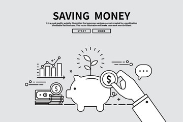 Flat line vector editable graphic illustration, business finance concept, saving money