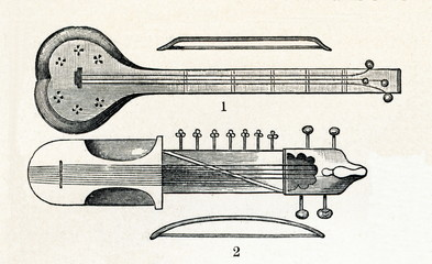 Sarangi and rabab, string instruments from India (from Meyers Lexikon, 1896, 13/338/339)