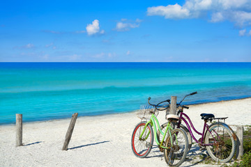Autocollant pour porte Velo Holbox island beach bicycles Mexico