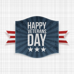 Happy Veterans Day national Sign with Ribbon