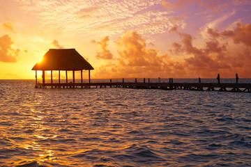 Fototapete - Holbox island sunset beach pier hut Mexico
