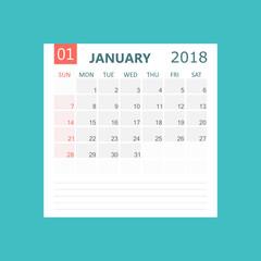 January 2018 calendar. Calendar planner design template. Week starts on Sunday. Business vector illustration.