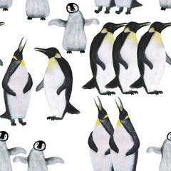 Watercolor painting penguin seamless pattern