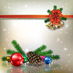 Abstract background with Christmas bells and snowflakes