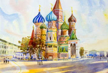 Cathedral of St. Basil in the Red Square Russia.