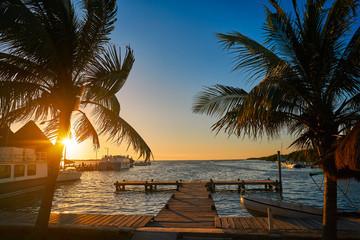 Fototapete - Holbox island port sunset in Quintana Roo