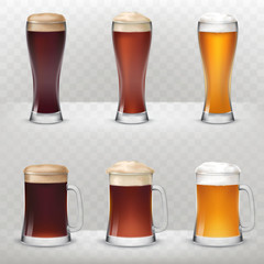 A set of vector illustrations in a realistic style of mugs and tall glasses of unfiltered, dark and light beer isolated against a gray background.