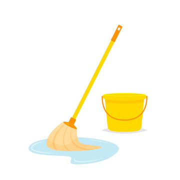 Mop and bucket vector isolated illustration