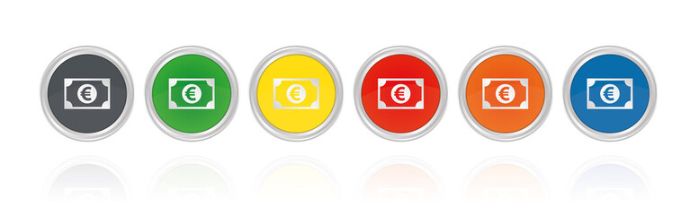 Euro Banknote - Silberne Buttons