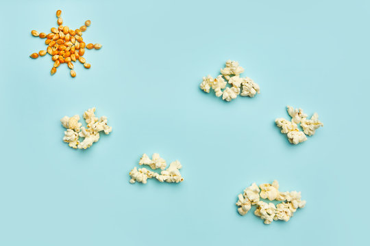 Sun and clouds made of popcorn