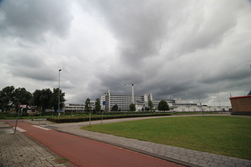 Dark clouds above the historic industry of Van Nelle in Rotterdam
