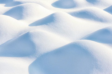 Fresh snow cover in dunes at closeup