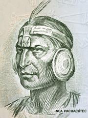 Inca Pachacutec portrait from old Peruvian money