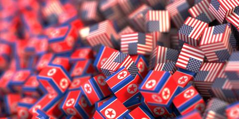North Korea and United States political conflict, original 3d rendering conceptual illustration, original flag textures