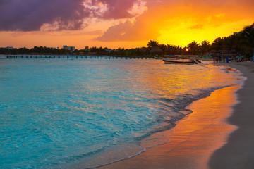 Fototapete - Mahahual Caribbean beach in Costa Maya
