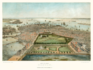Old aerial view of Boston, Massachusetts.  Created by John Bachmann, publ. Steven & Williams, New York, 1850