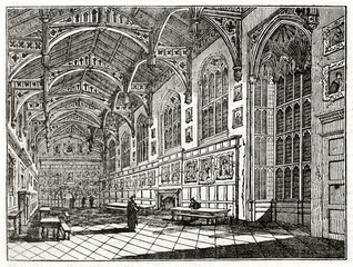 Old grayscale illustration of a church. Indoor view and two priests on center. Christ church hall, Oxford, United Kingdom. Created by Delamotte, published on Penny Magazine, London, 1835